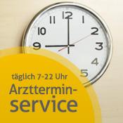 Große Uhr an der Wand zeigt 9 Uhr - weiter zu Arztterminservice