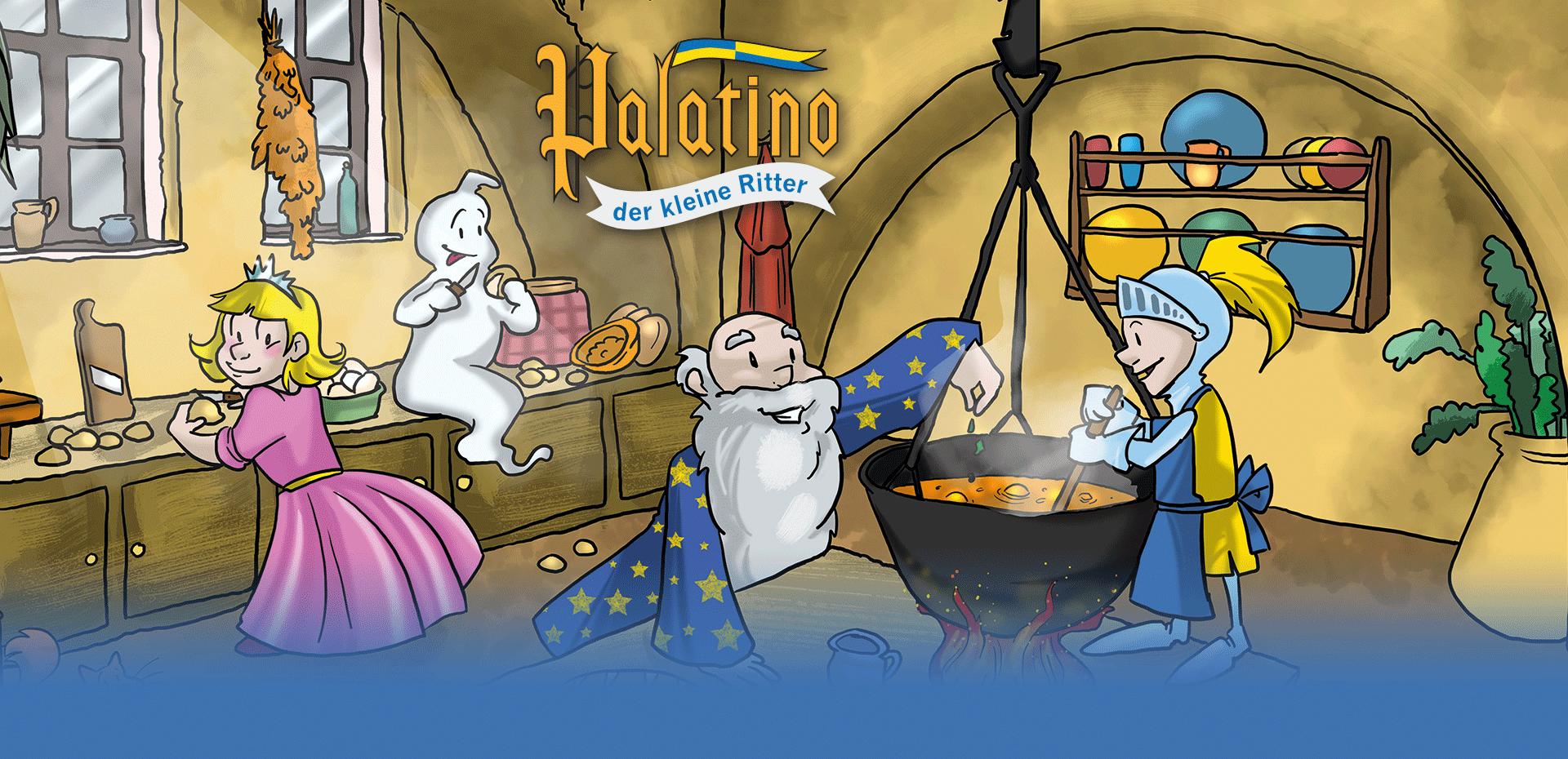 Palatino und seine Freunde beim Kochen