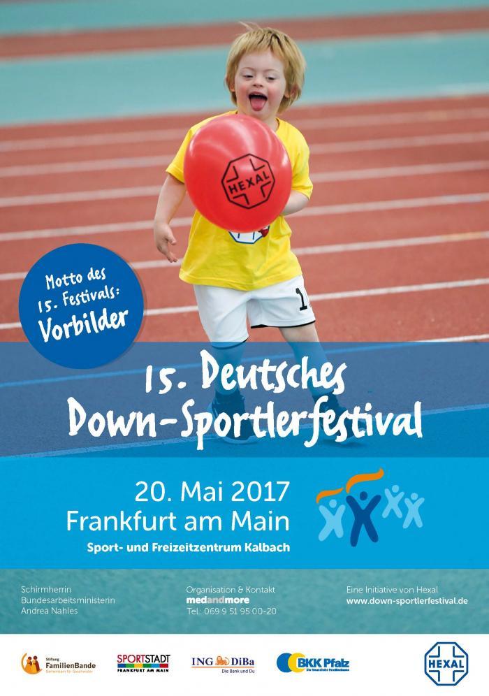 Plakat des Down Sportlerfestivals