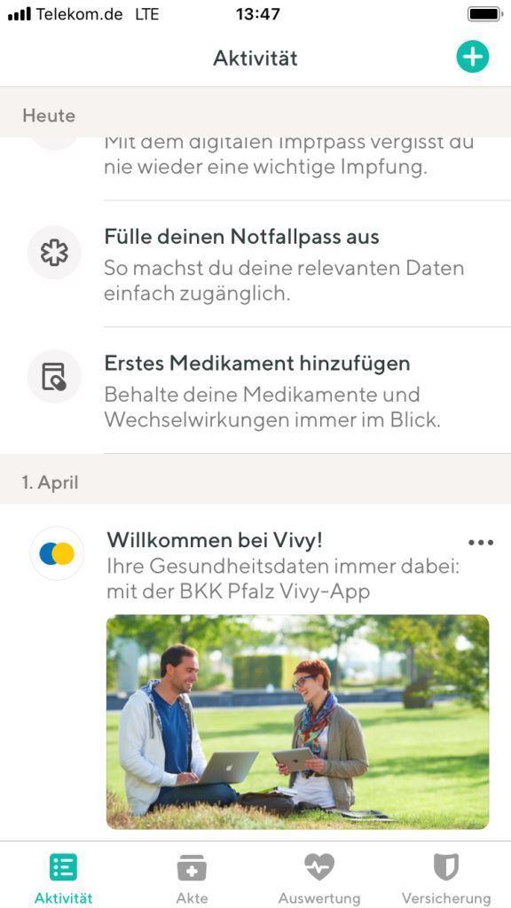 Screenshot BKK Pfalz Vivy-App